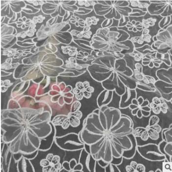 欧根纱水溶蕾丝面料 3D涤光立体绣花女装面料 服装辅料 厂家直销
