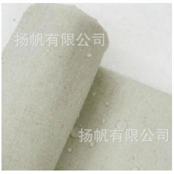 现货提供淋膜亚麻环保灯罩布 装修布 防水麻布 原色贴PE PVE
