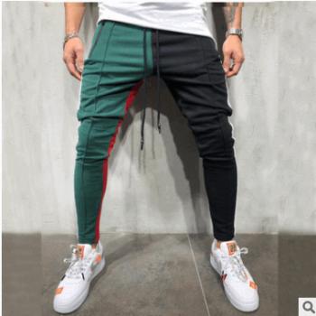 2019外贸爆款男士休闲拼色设计个性运动裤嘻哈风修身男人长裤107