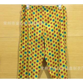 现货供应 梭织中裤 杨柳绉面料 黄色点点中裤