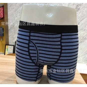 男士针织短裤 条纹短裤 透气平角短裤 蓝色条纹短裤 现货供应