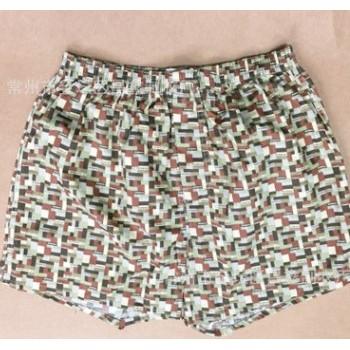 男式梭织短裤 男式大码纯棉色织格格子家居短裤 睡裤