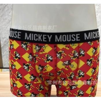 供应男士针织短裤 舒适面料 红色卡通图案针织短裤