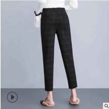职业女性哈轮裤九分女裤新上春款2019哈伦裤黑色直筒女裤工厂店