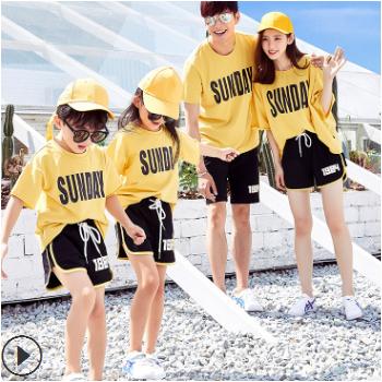 亲子装夏装 2019新款家庭装潮韩版棒球风亲子服 亲子运动套装批发