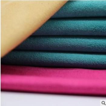 厂家直销可定制麂皮绒布料 时尚服装面料染色装饰布箱包涤纶绒布
