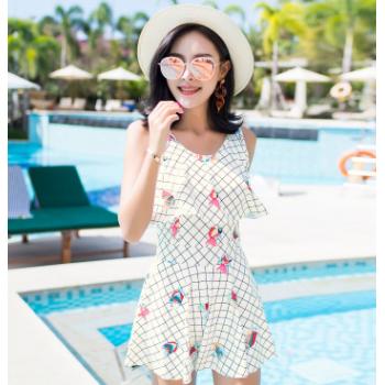 格子泳衣女式连体泳衣 2018新款卓浪泳装 时尚百搭泳裙韩版小清新