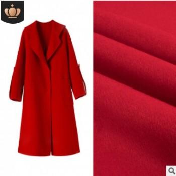 阿尔巴卡双面羊绒面料 粗纺纯色骆马绒面料 秋冬大衣外套毛呢面料