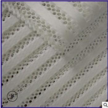 福建工厂直销双层条纹布 针织服装面料 竖条裙装网布 三明治网布
