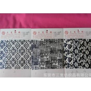 sk-0114#加厚细斜弹力品质棉布印花 几何图案不规则花型紧身裤料