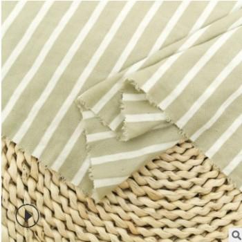 厂家直销 新款条纹单孔丝针织面料 条子弹力布 仿麻针织布 现货