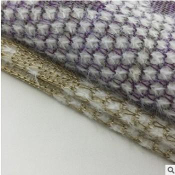 厂家直销 粗针提花针织布 秋冬毛线衣外套女装面料 金丝银线布