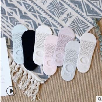 夏季新款纯色浅口女士船袜 舒适透气镂空带硅胶网眼隐形袜洞洞袜