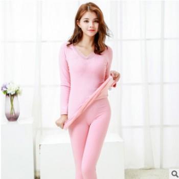 冬季新款女士加绒加厚保暖套装 亲肤双层修身保暖衣厂家直销