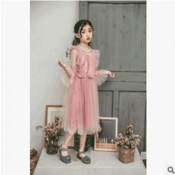 2019年春季连衣裙女童中大童飞袖网纱裙SL013