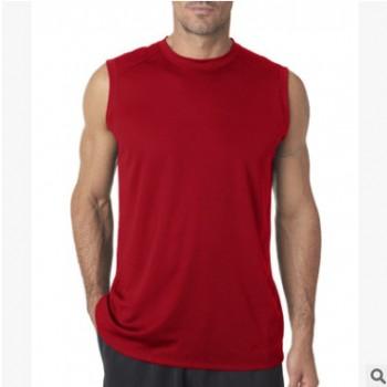 厂家定做 140涤纶无袖圆领T恤 篮球服全涤纶速干便宜T恤衫