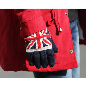 冬季韩版米字五指手套加绒加厚学生骑行分指手套毛线针织韩国情侣