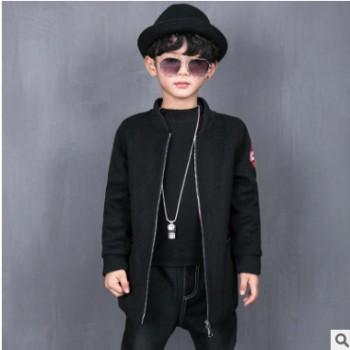冬季新款男童修身拉链夹克 中小童螺纹袖口气质外套 加厚保暖夹克