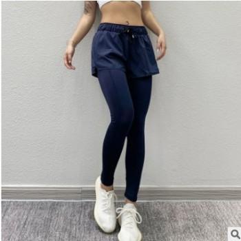 女士假两件运动健身裤跑步速干裤瑜伽吸湿排汗下装九分裤一件代发