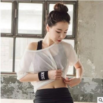 韩版瑜伽健身网纱罩衫上衣 短袖时尚T恤吸汗半透明跑步运动服女