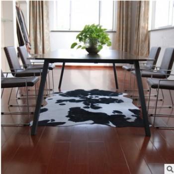 仿牛皮现货欧美黑白动物皮纹奶牛纹防滑地毯客厅卧室时尚地垫创意