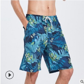 鲨巴特情侣沙滩裤潮男速干宽松短裤快干五分裤海边度假温泉泳裤