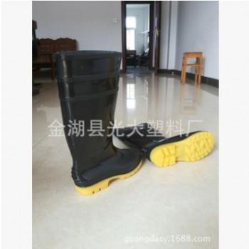 长期销售 黑帮黄底耐磨亮面雨靴 男款工矿耐油耐磨雨靴
