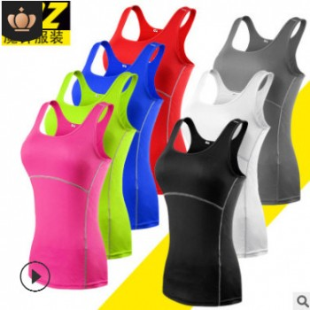 MZ瑜伽健身背心吊带女士运动T恤双肩紧身打底速干纯色跨境电商 爆