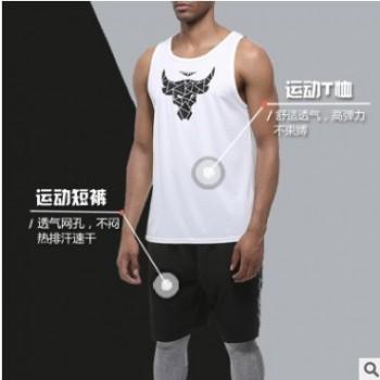 2019夏季厂家直销新款户外休闲运动健身套装男速干透气背心两件套