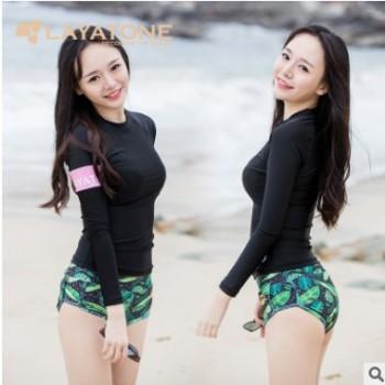 爆款水母衣成年防晒长袖泳衣女 黑色莱卡服分体浮潜衣冲浪服现货