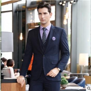 男女同款套装职业装商务英伦风条纹正装西服销售酒店工作服男西装