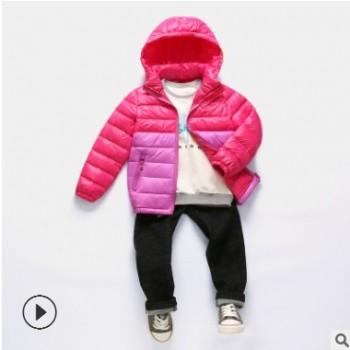 儿童羽绒服冬季新款男童拼色羽绒外套女孩大童运动休闲短款羽绒服