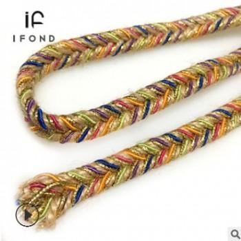 【定制】麻绳人字编织带1CM彩色 金丝编绳装饰带腰带饰品配饰辅料