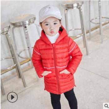 秋冬款儿童轻薄羽绒棉服中长款保暖连帽棉衣中小童中长外套棉袄