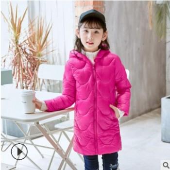 新品儿童羽绒棉服中长款连帽轻薄棉衣秋冬季新款男女童装棉袄外套