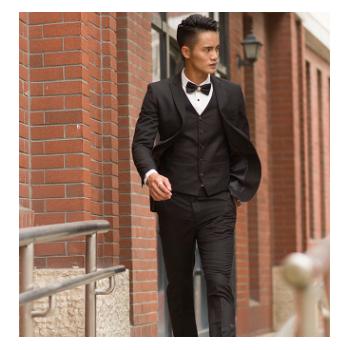 工厂批发春秋男士英伦修身黑色职业商务正装韩版西装三件套