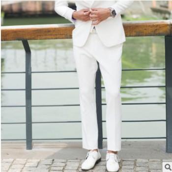 白色西装2018秋季新款韩版休闲小西服青年帅气修身潮流西服三件套