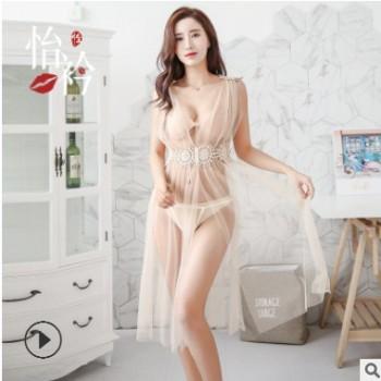怡衿情趣内衣雅典娜仙女长裙网纱透明性感高开叉露背吊带睡衣7801