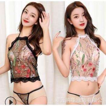 女式蕾丝纯爱丝花边情趣内衣套装 透明丁字裤吊带裹胸情趣套装