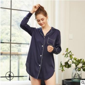 19春季仿真丝长袖睡裙重磅丝质家居服女士简约舒适衬衫睡衣女外穿