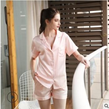 新品爆款仿真丝睡衣女士夏薄款短袖短裤睡衣女冰丝品质家居服套装