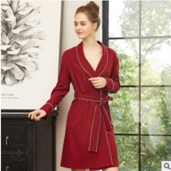 跨境货源春季女睡衣秋季浴袍针织纯棉睡袍长袖女士性感睡衣居家服
