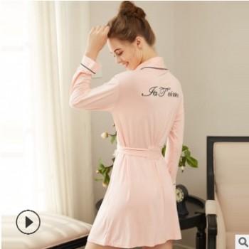 厂家直销欧美性感睡袍薄款睡裙木代尔棉居家舒适女士长款睡衣女春