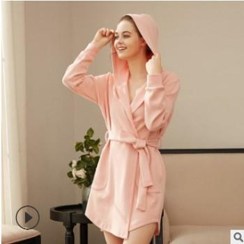 春季爆款推荐纯棉卫衣女长袖连帽睡袍女士甜美系带宽松浴袍睡衣女