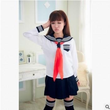 性感长袖学生校服表演套装 可爱女水手短裙情趣制服诱惑摄影写真