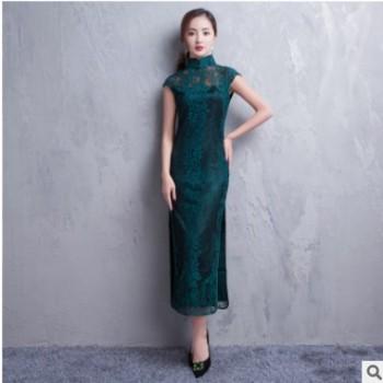 新款复古蕾丝立领长款旗袍 蕾丝覆盖短袖旗袍 时尚开叉包边旗袍