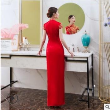 厂家直销新娘结婚宴会喜庆礼服旗袍 中国风时尚红色短款旗袍礼服