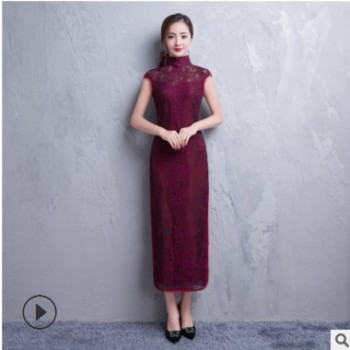新款潮流复古立领长款旗袍 蕾丝开叉包边修身时尚模特走秀旗袍
