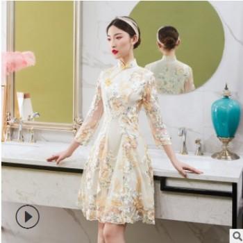 厂家批发夏季新款蕾丝绣花旗袍连衣裙 时尚修身名媛镂空旗袍裙
