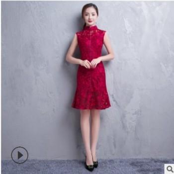 新款时尚红色短款改良版连衣裙 批发蕾丝花苞立领绣花旗袍连衣裙